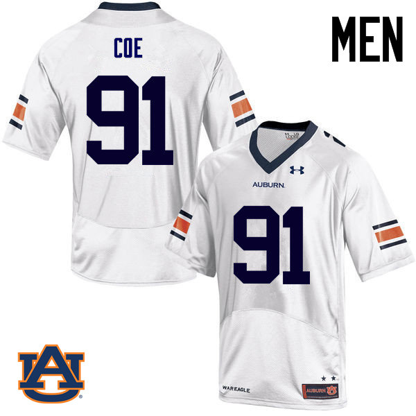 Men Auburn Tigers #91 Nick Coe College Football Jerseys Sale-White
